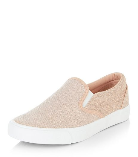 Pink Shimmer Slip On Plimsolls  | New Look