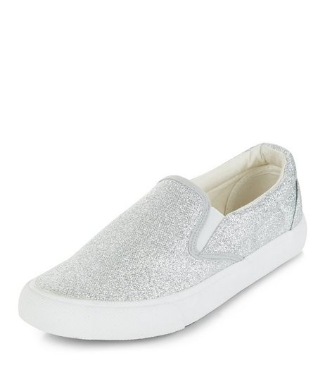 Silver Shimmer Slip On Plimsolls  | New Look