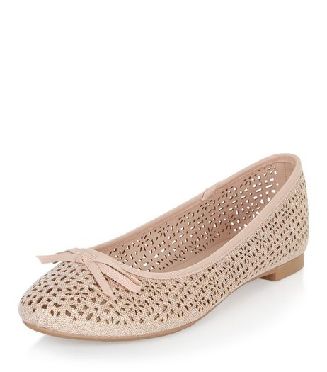 Pink Glitter Laser Cut Out Ballet Pumps  | New Look