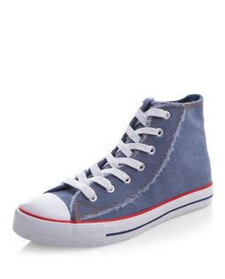 Blue Fray Trim Lace Up Hi-Top Plimolls  | New Look