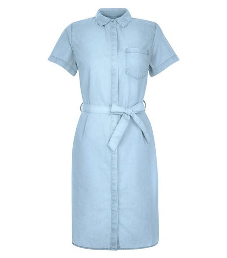 Blue Denim Single Pocket Tie Waist Shirt Dress | New Look