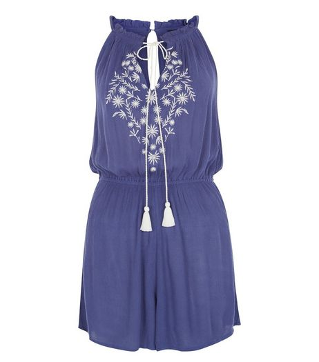 Blue Embroidered Tie Front High Neck Playsuit  | New Look