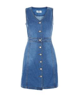 Blue Button Front Denim Dress  | New Look
