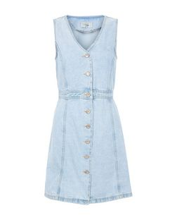 Pale Blue Button Front Denim Dress  | New Look