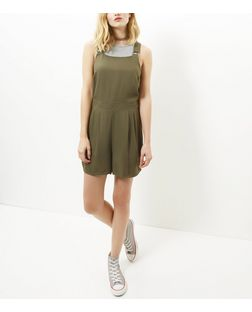 Khaki Twill Pinafore Playsuit | New Look