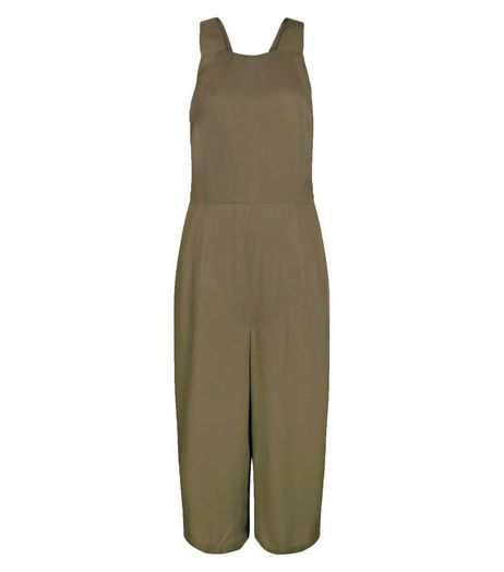 Khaki Pinafore Culotte Jumpsuit  | New Look