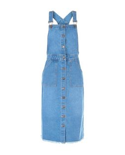Blue Denim Button Front Midi Pinafore Dress  | New Look