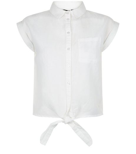 Teens White Tie Front Shirt | New Look