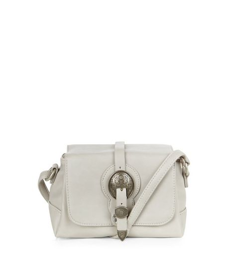 Pale Grey Western Buckle Across Body Bag  | New Look