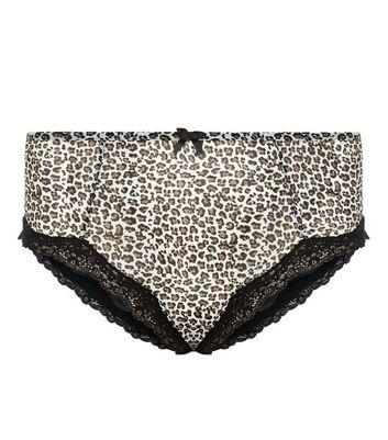 Curves Black Leopard Print Briefs