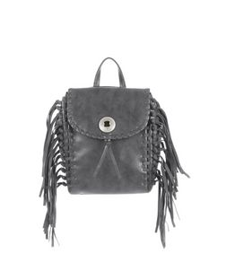 Grey Woven Fringe Trim Mini Backpack  | New Look