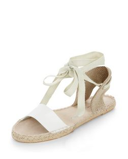 White Canvas Ankle Tie Espadrilles | New Look