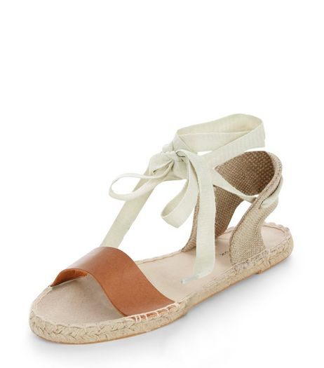 Tan Canvas Ankle Tie Espadrilles | New Look