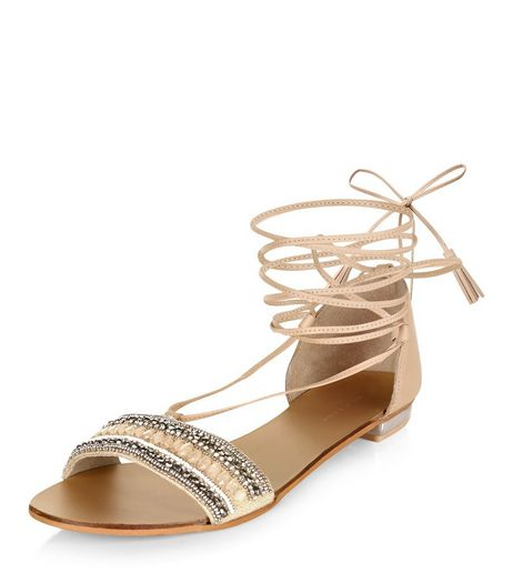 Stone Leather Beaded Lace Up Sandals  | New Look