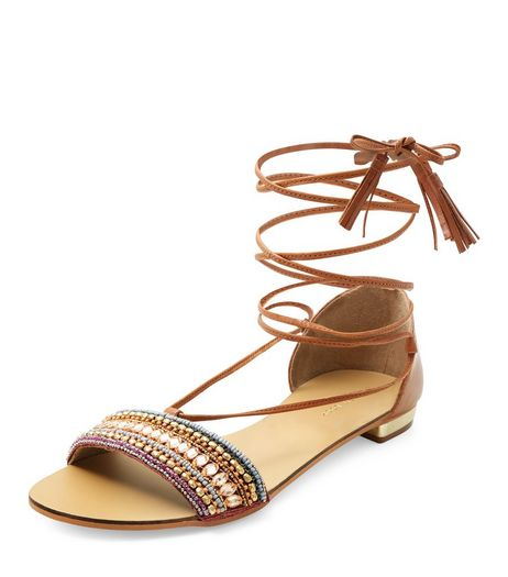 Tan Leather Beaded Lace Up Sandals  | New Look