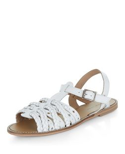White Leather Plaited Cross Strap Sandals  | New Look