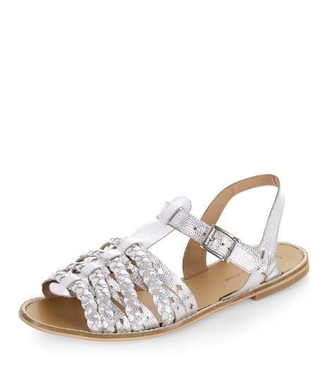 Silver Leather Plaited Cross Strap Sandals  | New Look