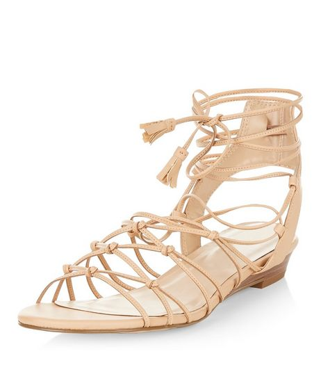 Stone Knotted Strap Wedge Sandals  | New Look