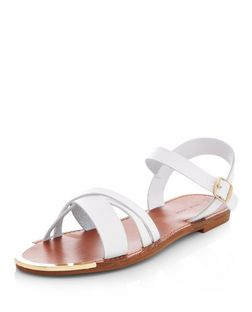 White Cross Strap Metal Bar Sandals  | New Look