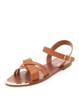 Tan Cross Strap Metal Bar Sandals  | New Look