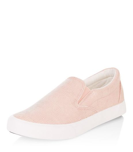 Pink Textured Slip On Plimsolls  | New Look
