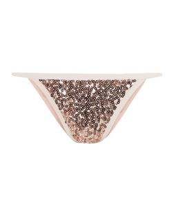 Pink Sequin Bikini Bottoms | New Look