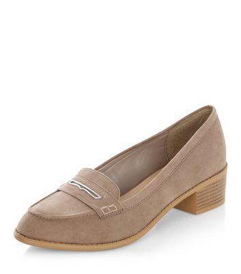 Mocassini  donna Light Brown Metal Trim Block Heel Loafers