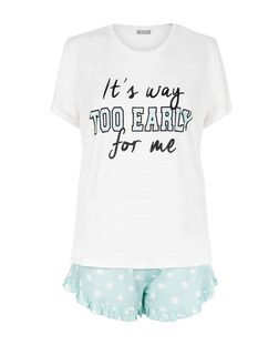 Turquoise It's Way Too Early Print Pyjama Set | New Look