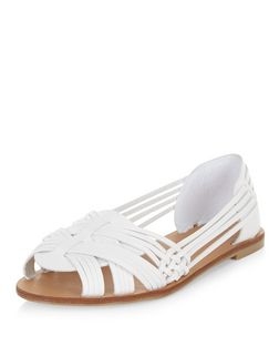 White Woven Cross Strap Sandals  | New Look