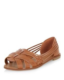 Tan Woven Cross Strap Sandals  | New Look