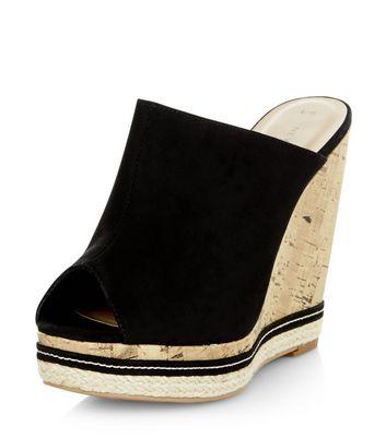 Sandalo  donna Black Peep Toe Wedge Mules