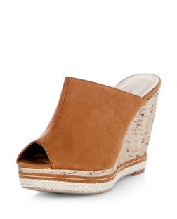 Stone Peeptoe Wedge Mules  | New Look