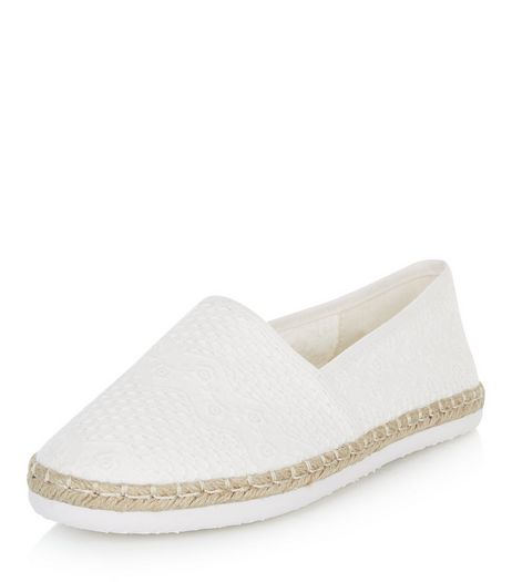 Cream Embroidered Slip On Espadrilles  | New Look