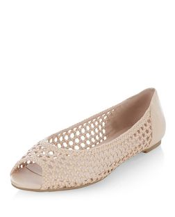 Cream Woven Peeptoe Pumps | New Look