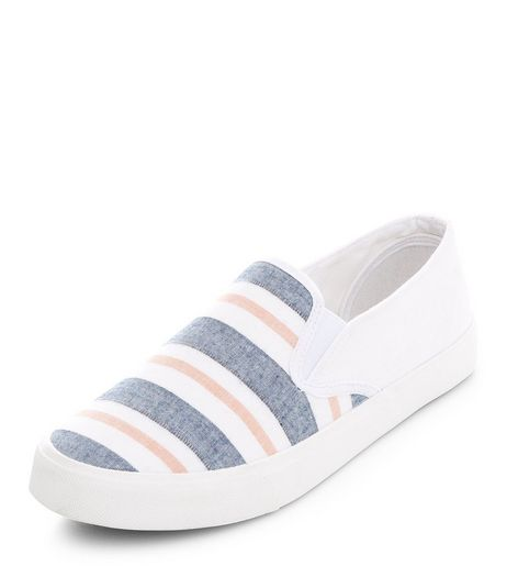 White Stripe Slip On Plimsolls  | New Look