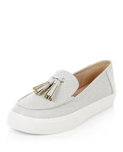 Pale Grey Woven Tassel Front Slip On Plimsolls  | New Look