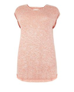 Plus Size Coral Fine Knit Bar Back Roll Sleeve T-Shirt  | New Look