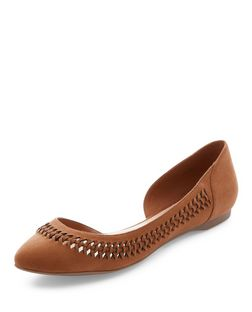Tan Woven Trim Cut Out Pointed Pumps | New Look