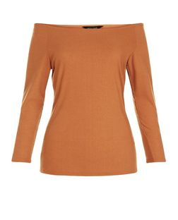 Tan Ribbed Bardot Neck Top  | New Look