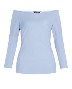 Blue Ribbed Bardot Neck Top  | New Look