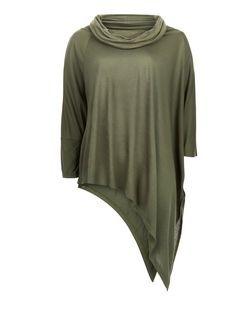Anita and Green Khaki Cowl Neck Asymmetric Top | New Look