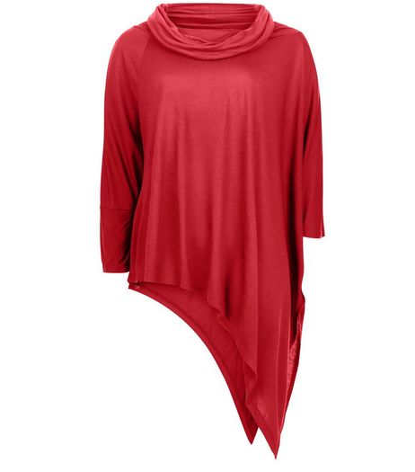 Anita and Green Red Cowl Neck Asymmetric Top | New Look