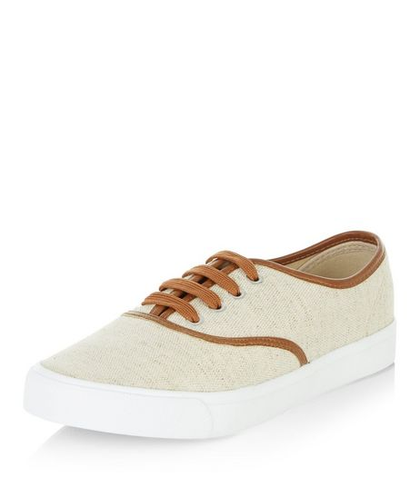 Cream Contrast Trim Lace Up Plimsolls  | New Look