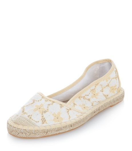 Yellow Lace Espadrilles  | New Look