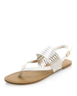 White Twist Strap Sandals  | New Look