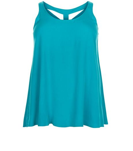 Curves Turquoise Lattice Back Shell Top | New Look