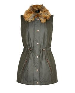 Anita and Green Khaki Faux Fur Trim Gilet | New Look