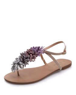 Tan Suede Pom Pom Sandals  | New Look