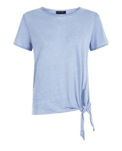 Petite Blue Washed Tie Front T-Shirt | New Look