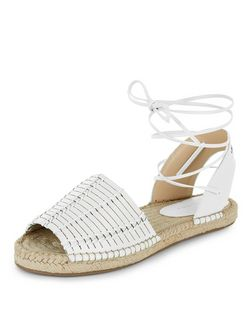White Woven Lace Up Espadrilles  | New Look